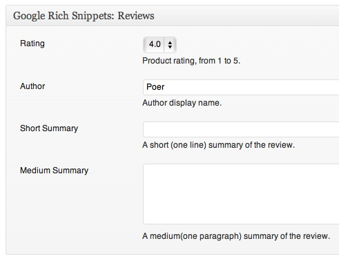 Основные Rich snippets