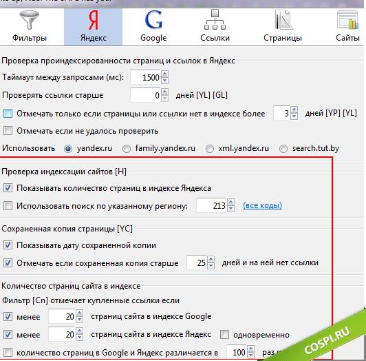 Настройки для проверки по Яндексу