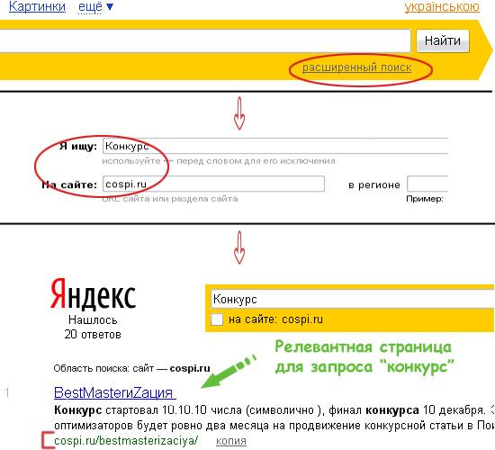 Релевантная страница Яндекс